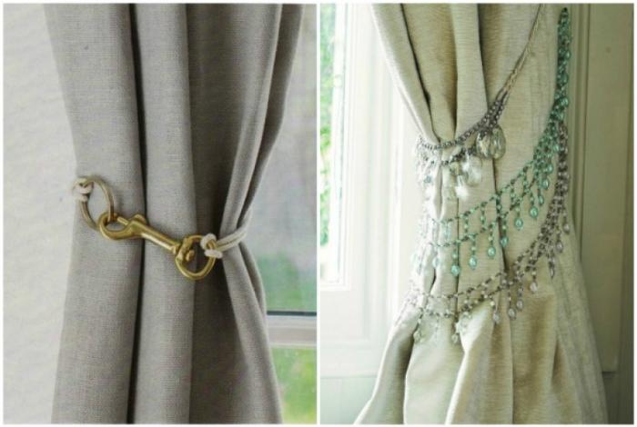 Ненужные ожерелья, цепочки или карабины можно использовать в качестве фиксатора штор.