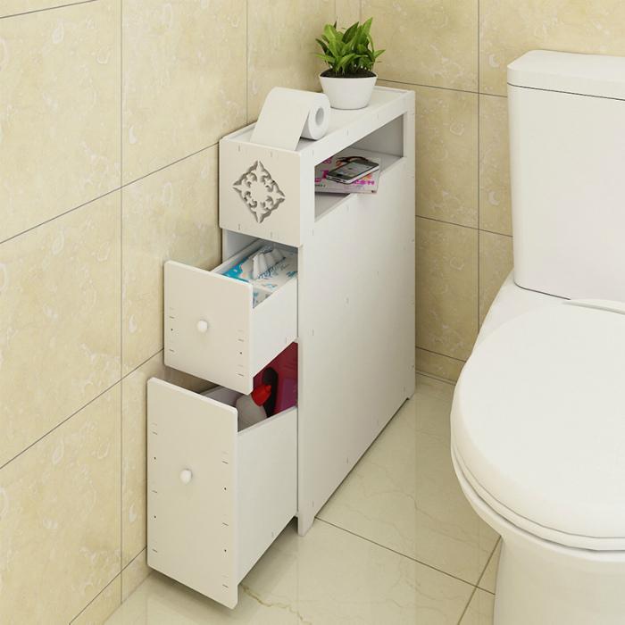 Узкий шкафчик для туалетных принадлежностей. | Фото: Seldon.News.
