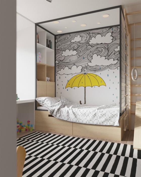 Детская с оригинальным спальным местом.