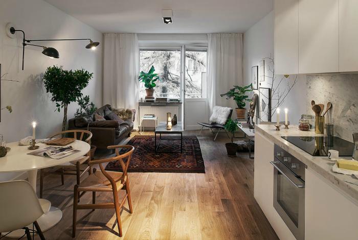 Гостиная и кухня в скандинавском стиле.