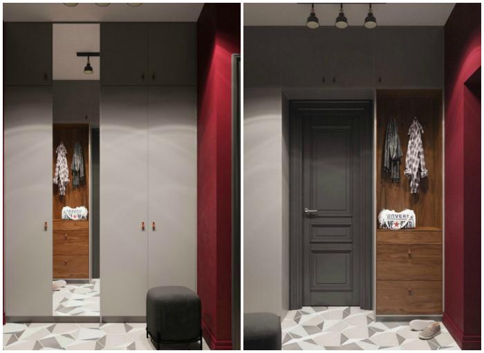 Оригинальное цветовое решение для прихожей. | Фото: InMyRoom.