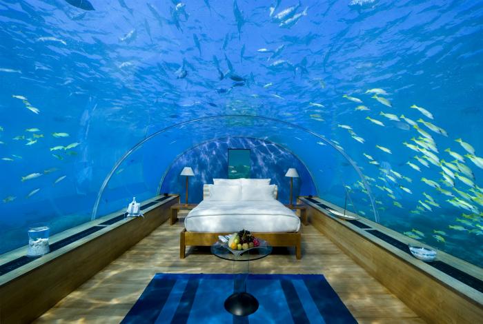 Волшебная подводная спальня в стиле минимализм.