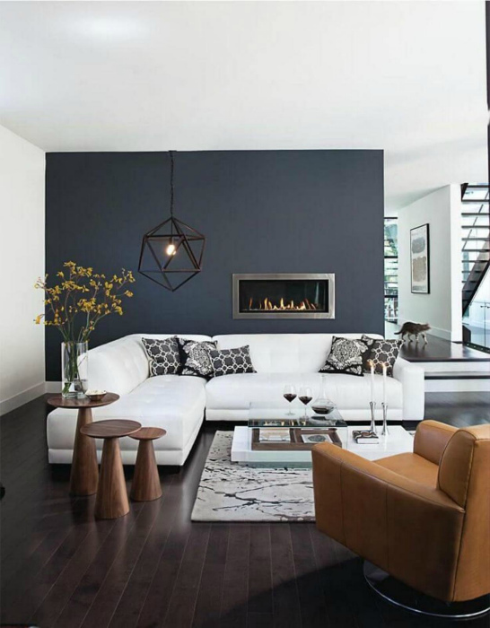 Стильная черно-белая гостиная в современном стиле.