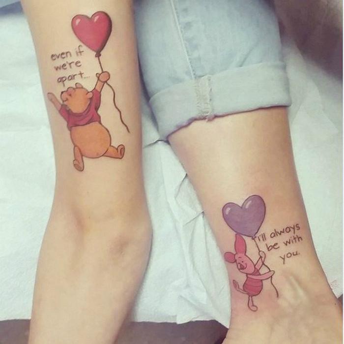 Татуировки Винни Пуха и Пяточка, которые любят друг друга даже на расстоянии.