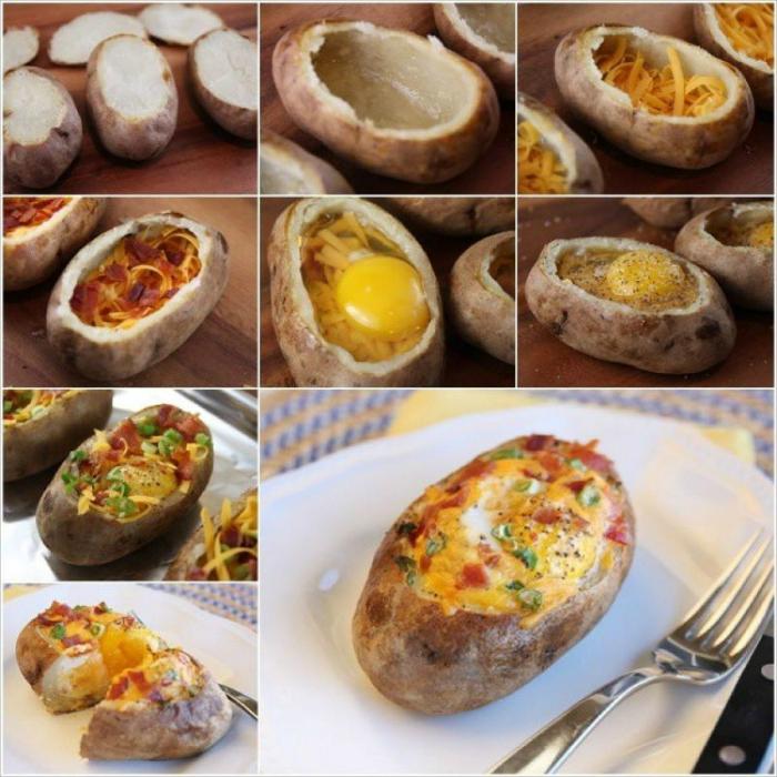 Цельный картофель, запеченный с яйцом, тертым сыром и овощами.