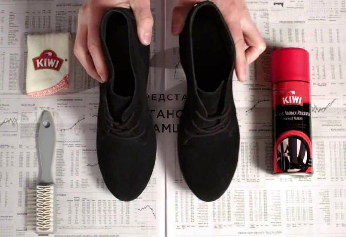 Насыщенность цвета замшевой обуви. | Фото: YouTube.