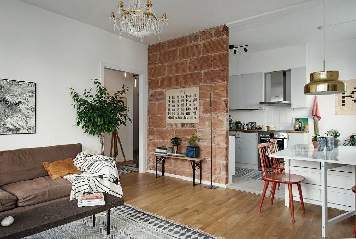 Однокомнатная квартира с оригинальной стеной.