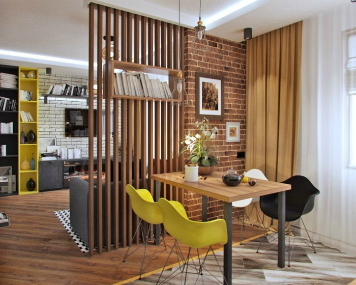 Квартира-студия с элементами скандинавского стиля.
