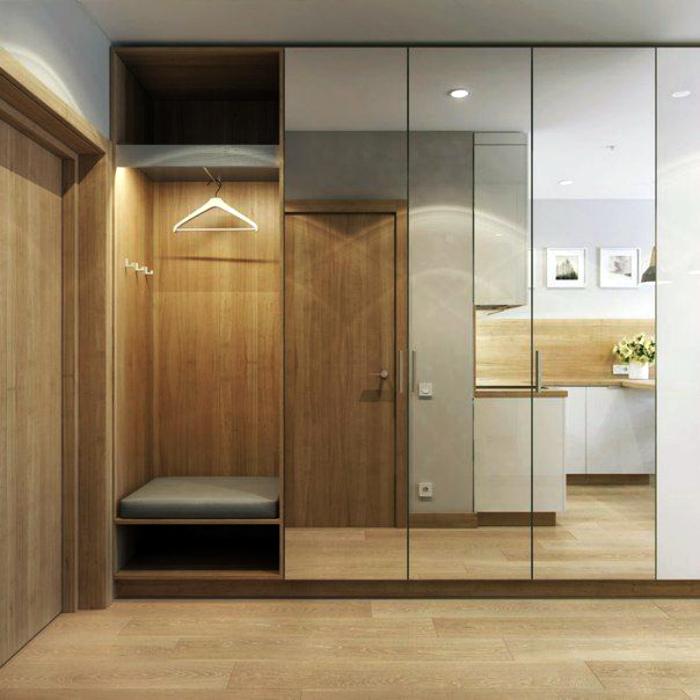 Зеркальный шкаф - иллюзия пространства. | Фото: Pinterest.