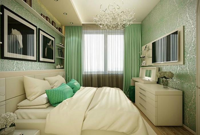 Спальня в светло-зеленом цвете.