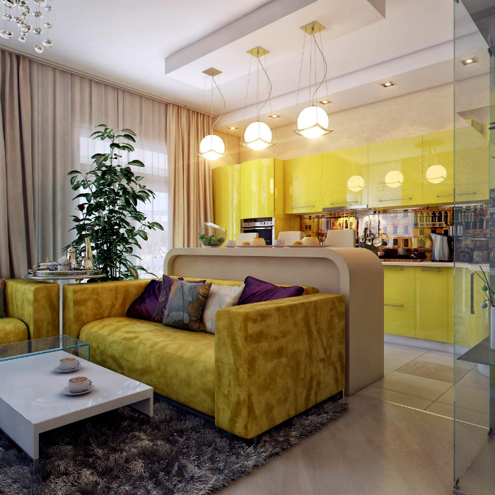 Желтая кухня с барной стойкой.
