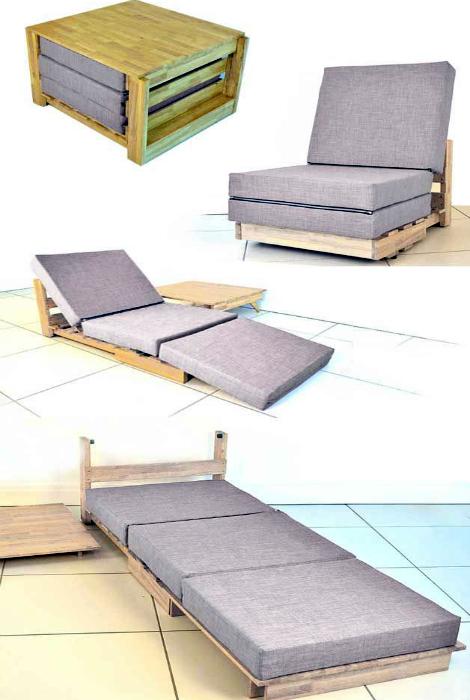 Лаконичная кровать-трансформер.