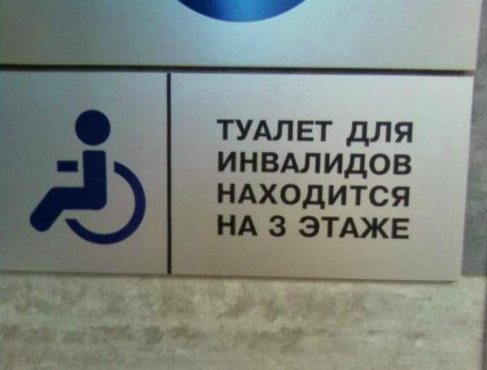 Туалет для инвалидов в помещении без лифта.