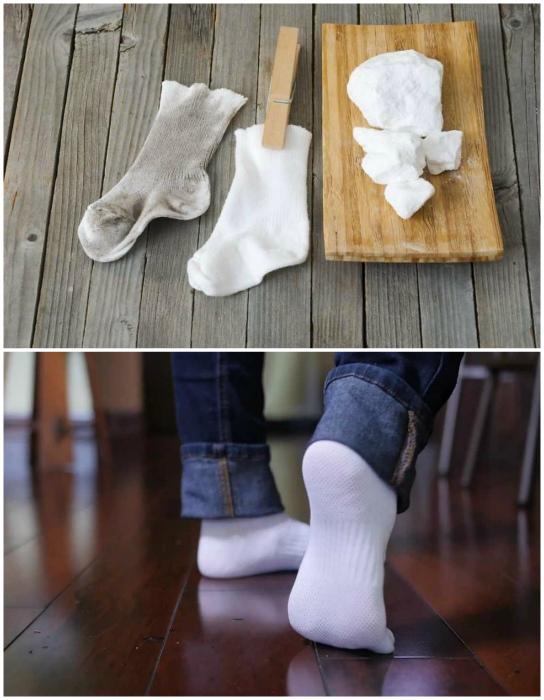 Стирка светлых носков.