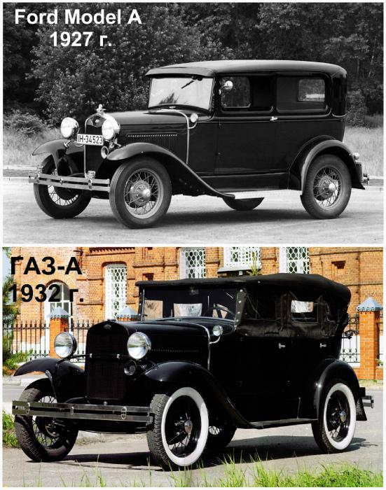 Ford Model A 1927 года и ГАЗ-А 1932 года.