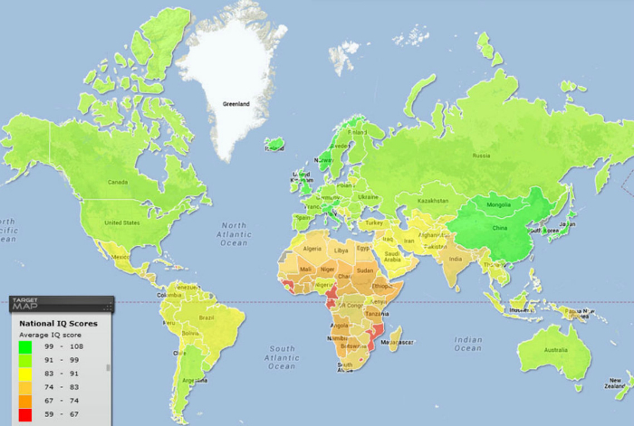 Карта интеллектуального развития жителей разных стран.