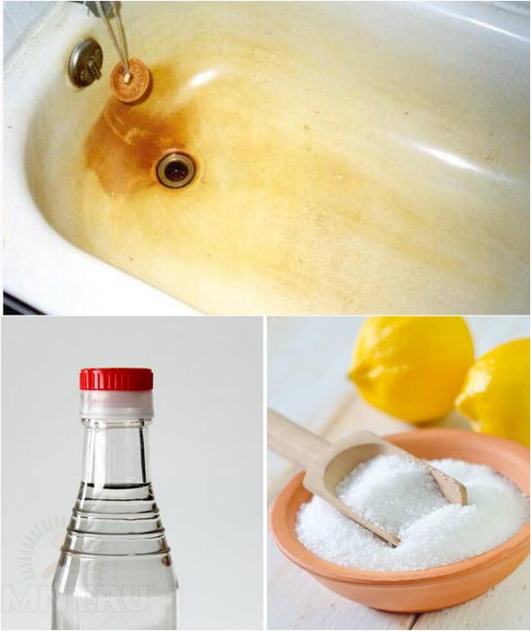 Эффективный способ очистки ванны и раковины от налета и ржавчины.