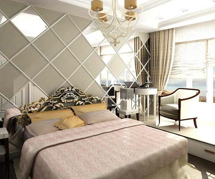 Зеркальные панели в интерьере спальни.