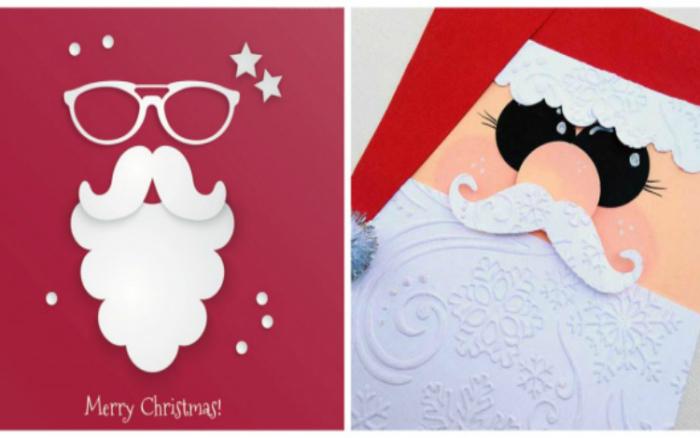 Открытки с аппликацией в виде Деда Мороза.
