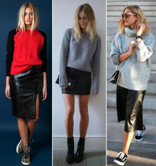 Модные юбки из кожи.