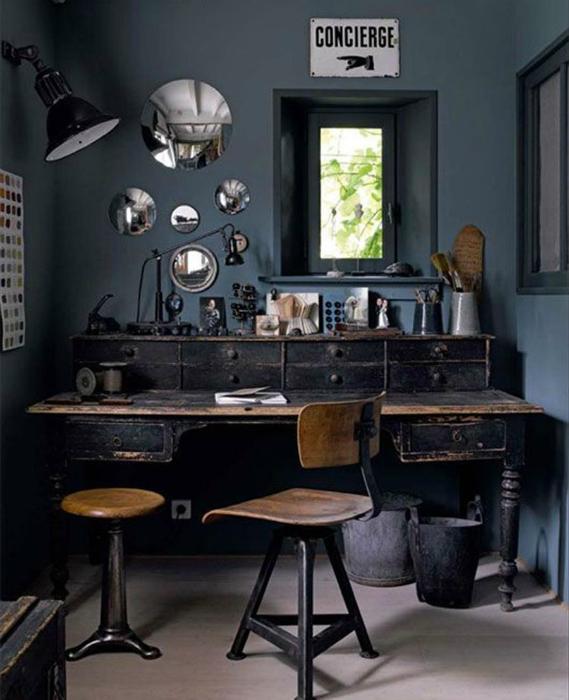 Домашний офис в винтажном стиле.