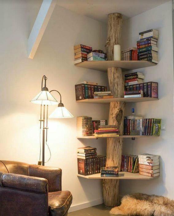 Книжный стеллаж в стиле эко. | Фото: PublicInsta.