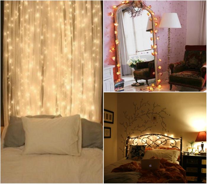 Светодиодными гирляндами можно украсить зеркала, занавески, изголовье кровати и даже стены. Такой декор выглядит очень эффектно.