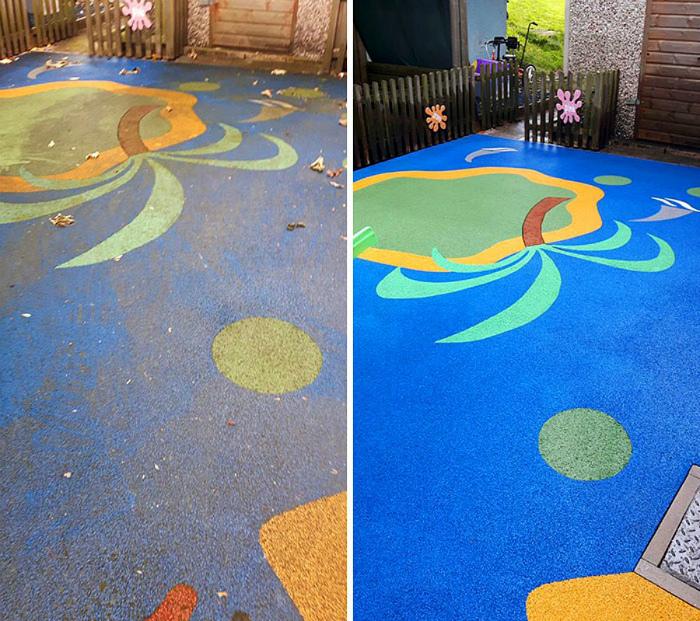 Детская площадка засияла яркими красками. | Фото: Onedio.