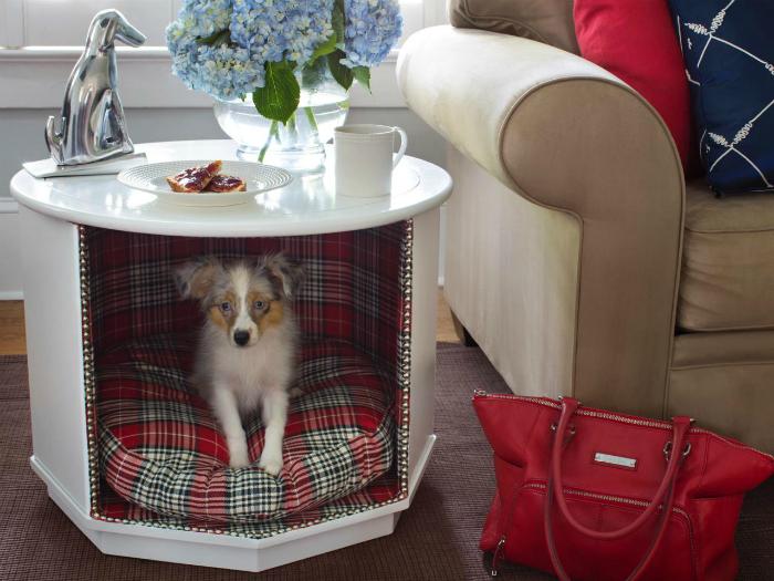 Домик для домашнего любимца в кофейном столике.