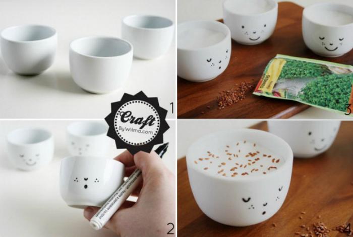 Собственный сад в маленькой кофейной чашке с нарисованной мордочкой.
