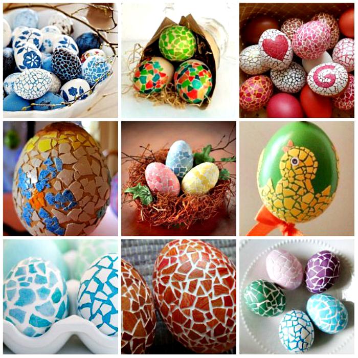 Пасхальные яйца, украшенные мозаикой из скорлупы.