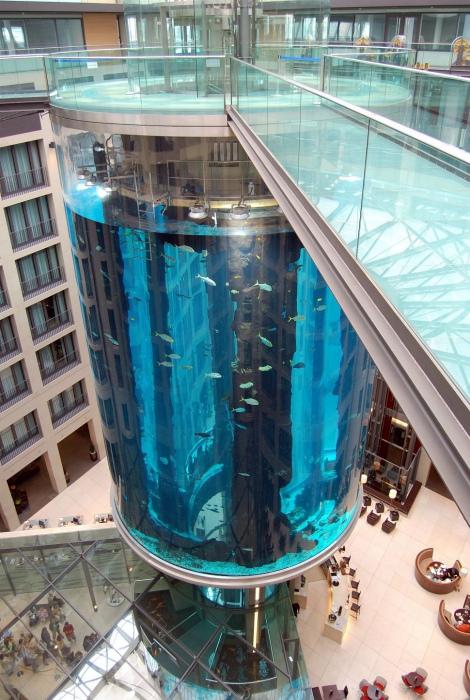 Лифт в огромном аквариуме.