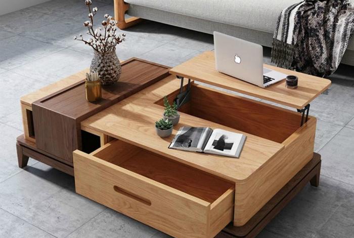 Журнальный столик с обилием шкафчиков. | Фото: Pinterest.