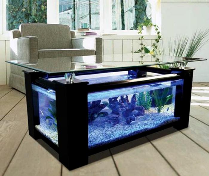 Журнальный столик с аквариумом. | Фото: bedroom ideas.