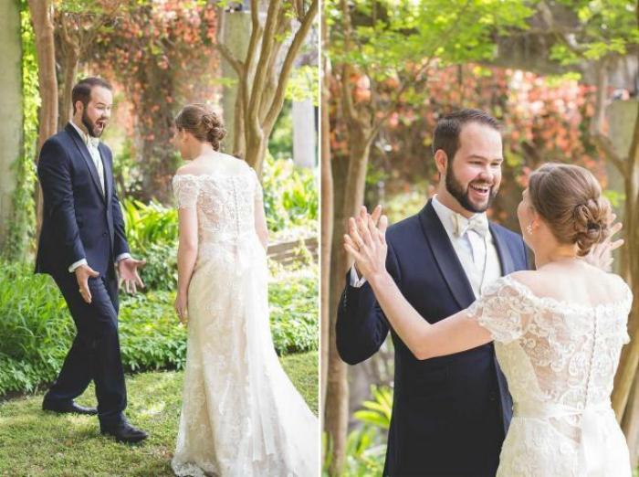 Парень видит девушку в свадебном платье