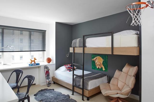 Современный дизайн спальни двух подростков.