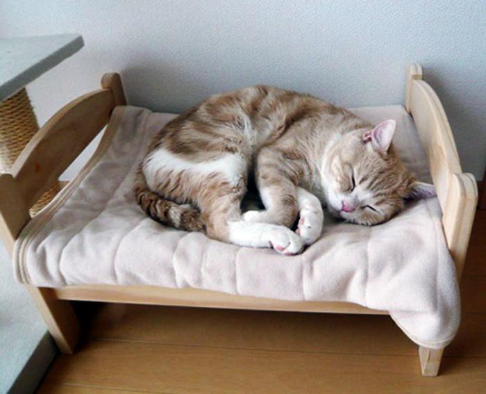 Лежанка из игрушечной кроватки.