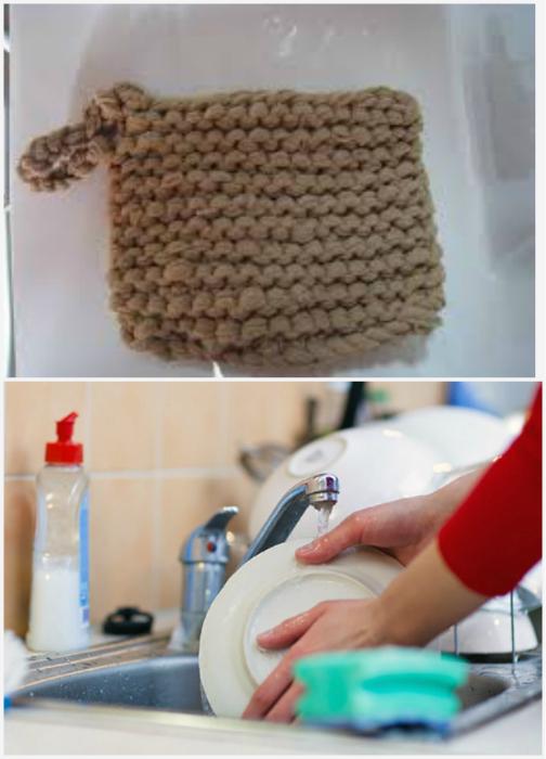 Мочалки для мытья посуды.