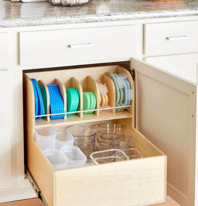 Двухуровневый ящик для контейнеров. | Фото: Pinterest.