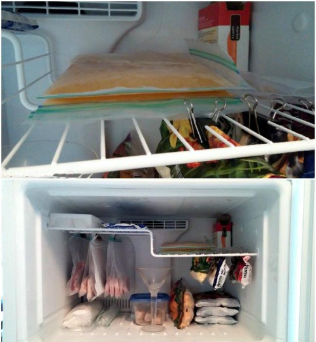 Из канцелярских зажимов можно сделать вешалки для хранения продуктов в пакетах.