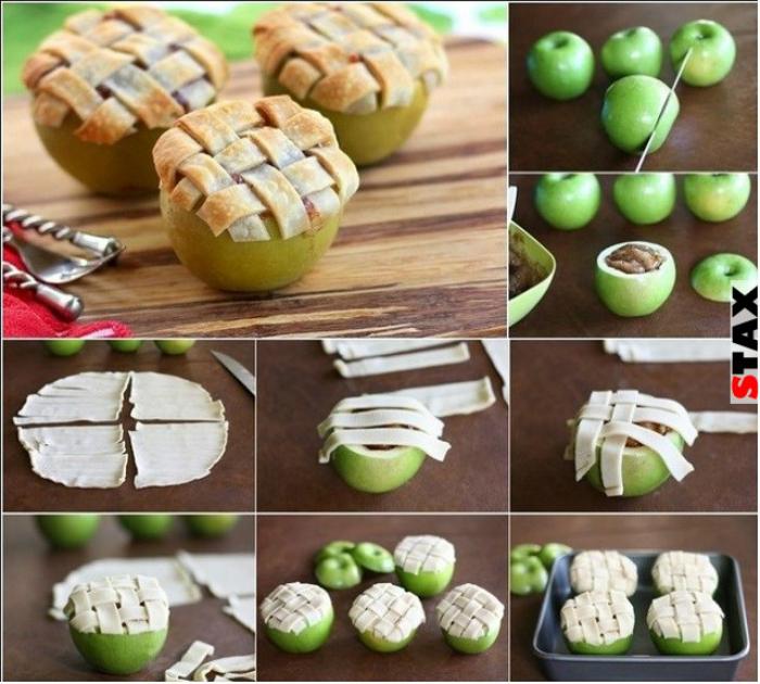 Яблочные корзинки с орехово-медовой начинкой.