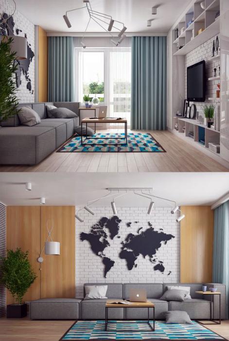 Просторная комната в современном стиле.