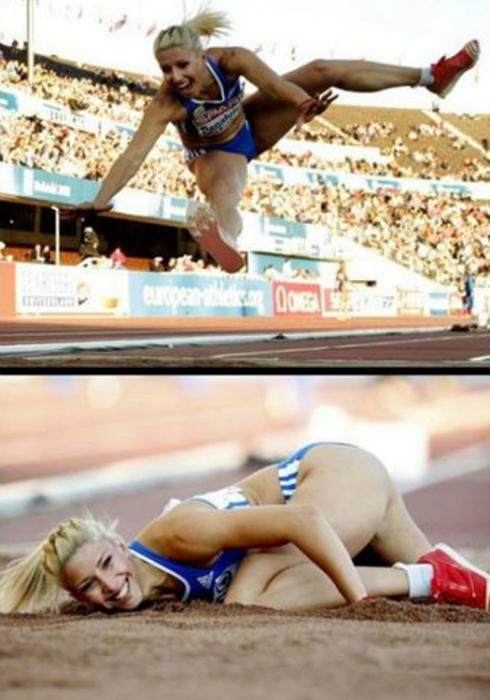 Участница Олимпийских игр выполняет сложный прыжок.