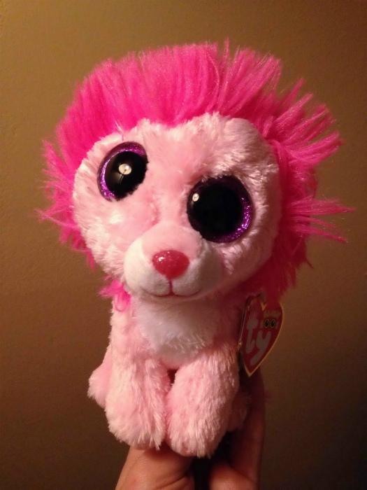 Очаровательный розовый лев.