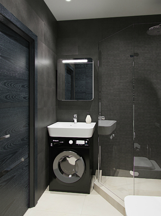 Стильная ванная комната в темных оттенках.