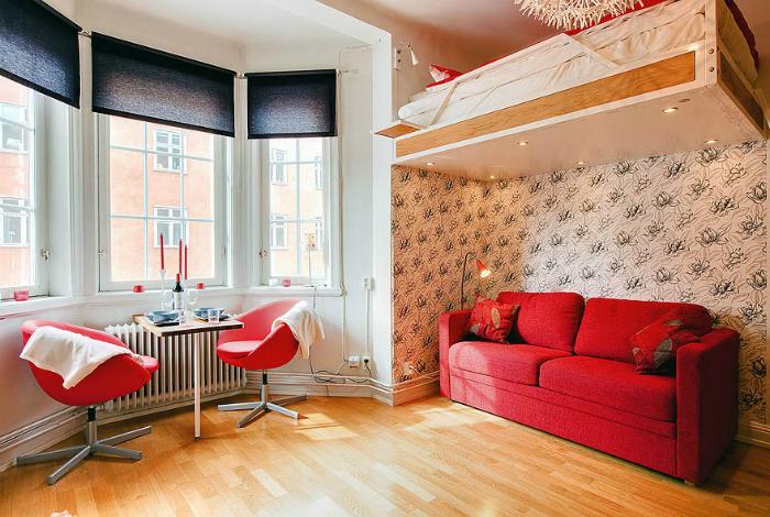 Столовая, гостиная и спальня.