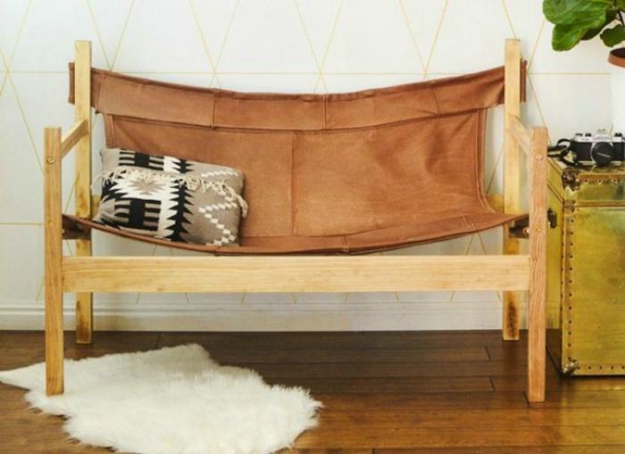 Кожаный диван-гамак.