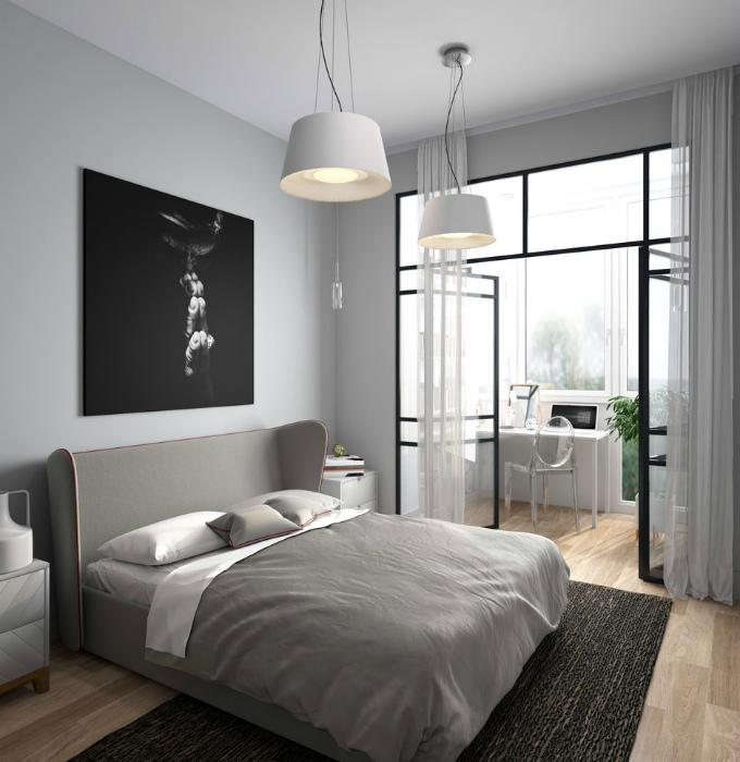 Лаконичная спальня со стеклянной перегородкой.