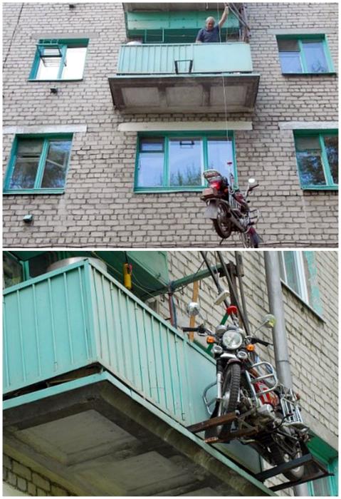 Парковка на балконе.