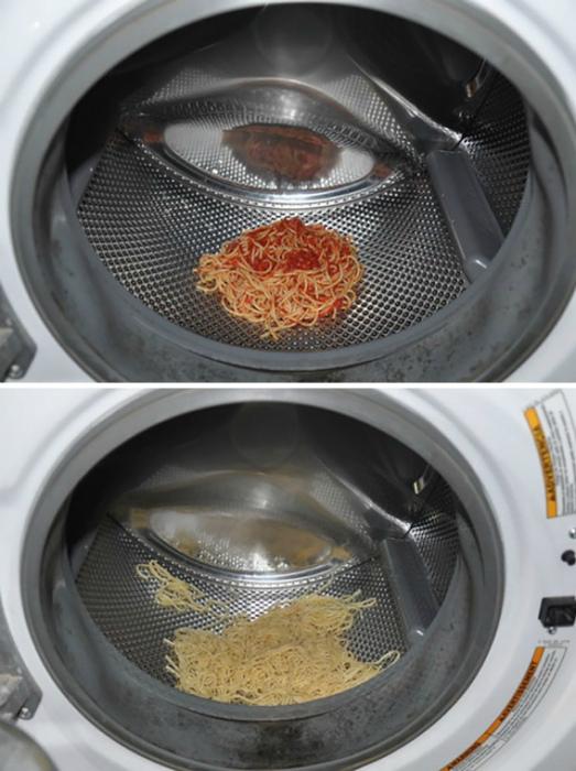 Очистка макарон от соуса.